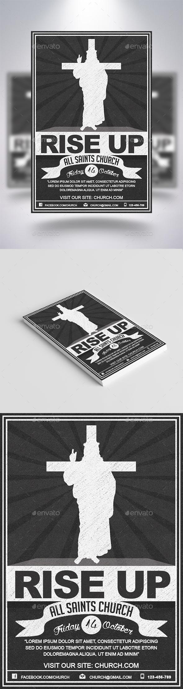Graphicriver Rise Up Retro Flyer 19279531