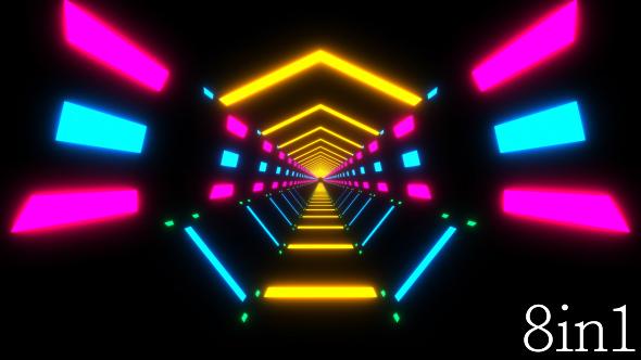VideoHive Neon Lights Tunnel VJ Loop 19279679