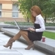 Outdoors: Student Working on Laptop