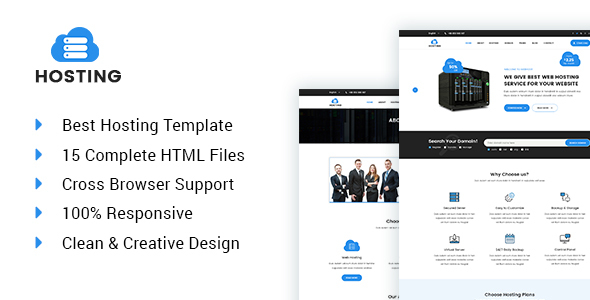 Hosting – Web hosting and technology HTML5 template (Hosting) images