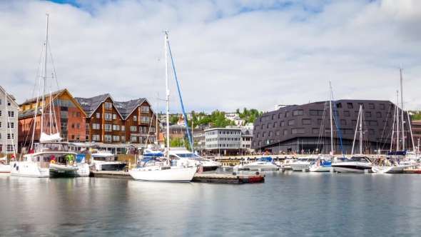 View of a Marina in Tromso, North Norway