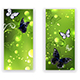 Two Green Banners with Butterflies