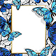 Rectangular Banner with Butterflies