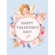 Valentines Day Card with Roses and Cupid