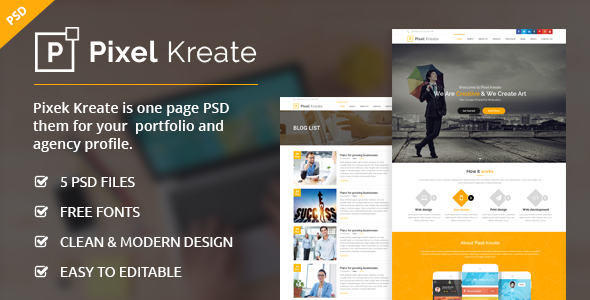 Pixel Kreate - One Page PSD Template