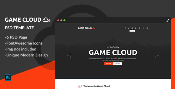 Game Cloud - One Page PSD Template
