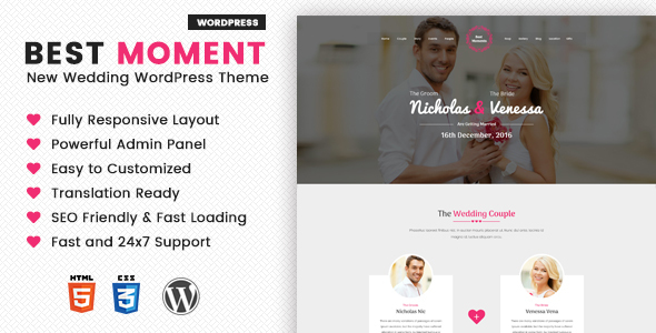 Image of Best Moments - Modern Wedding WordPress Theme