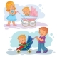 Set Clip Art Illustrations Older Brother