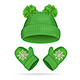 Color Hat with a Pompom and Mitten Set. Vector