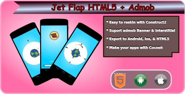 Download Jet Flap HTML5 Mobile Game + Admob nulled download