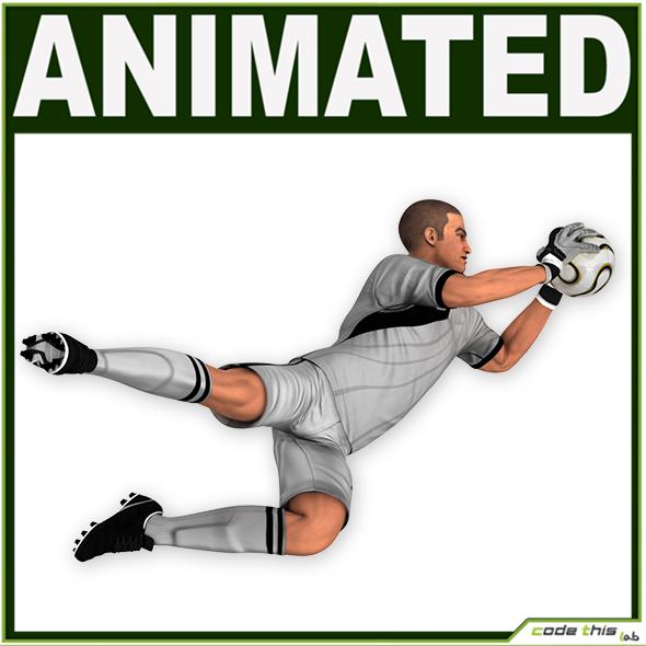 3DOcean White Soccer Player Goalkeeper CG 19287682