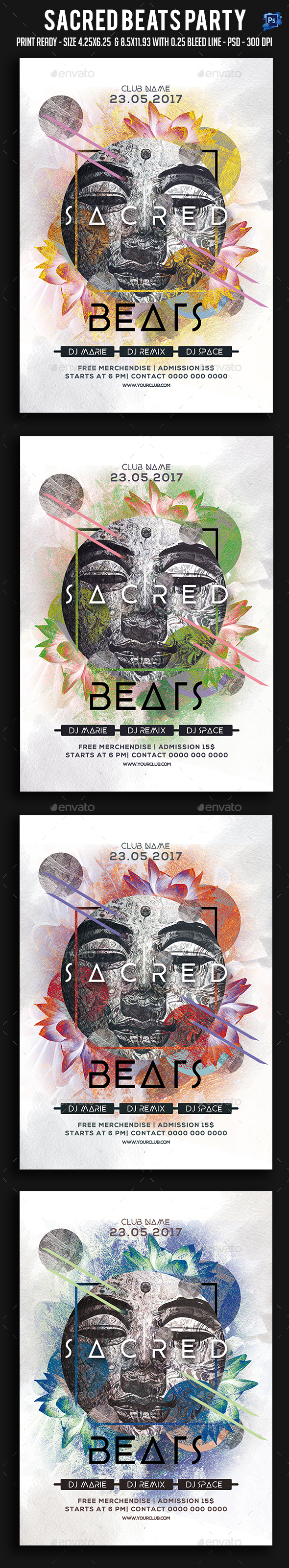 Graphicriver Sacred Beats Party Flyer 19287792