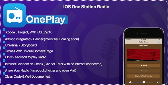 Download OnePlay - One Station Radio App(objective c) nulled download