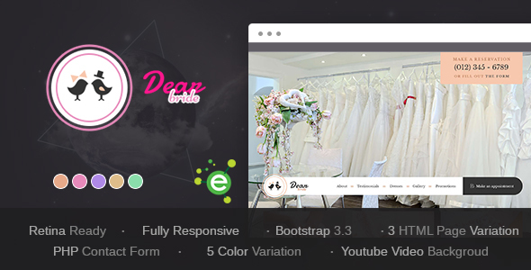 Download Dear Bride - One Page Wedding Salon HTML Template