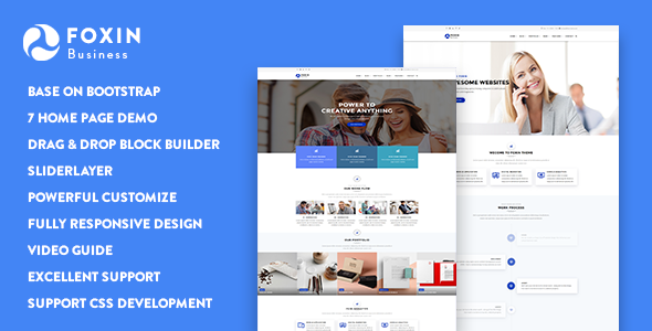 01 preview.  large preview - Foxin - Responsive Business Drupal 8 Theme