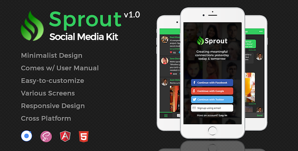 Download Sprout | Minimalist Social Media App Template for Ionic nulled download