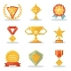 Gold Awards Win Symbols Trophy Isolated Polygonal