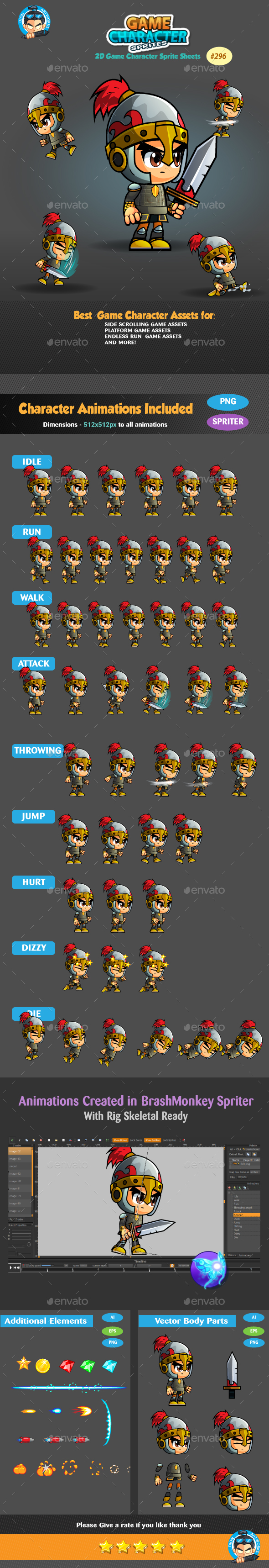 Graphicriver Knight 2D Game Character Sprites 296 19289727