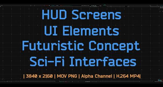 HUD Screens, UI Elements, Futuristic Concept Animations