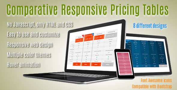 Comparative Responsive Pricing Tables - CodeCanyon Item for Sale