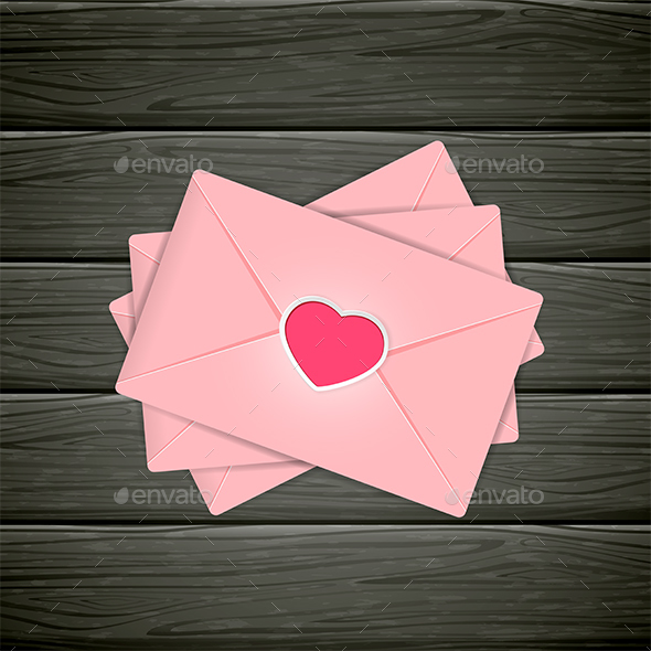 Black Wooden Background with Pink Valentines Envelopes