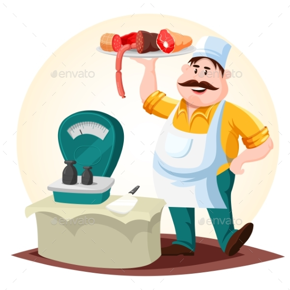Graphicriver Butcher or Meat Store Worker with Sausages 19291813 torrent