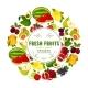 Download Vector Natural Fresh Fruits Round Label Design