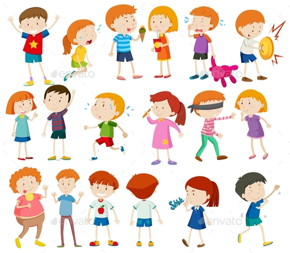 Graphicriver Boys and Girls Doing Different Activities 19294168