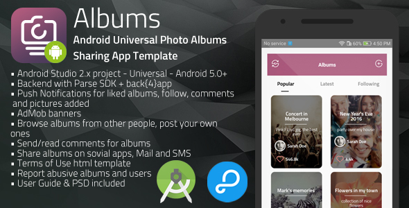 Albums | Android Universal Photo Albums Sharing App Template nulled ...