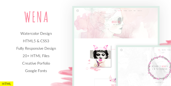 Wena - Watercolor Photography Portfolio Website Template