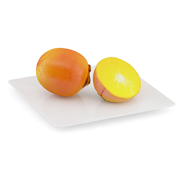 Persimmon Fruits on White Plate - 3DOcean Item for Sale