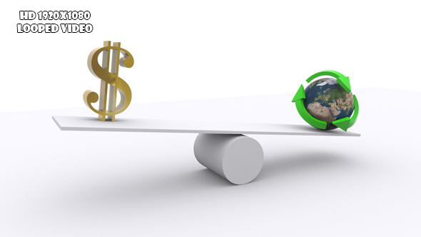 VideoHive Teeter Concept Of Profit Versus Recycling 19298059