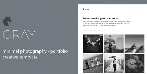 Download Gray- Minimal Photography and Portfolio Template