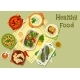 Vegetable and Fish Dishes Icon for Food Design