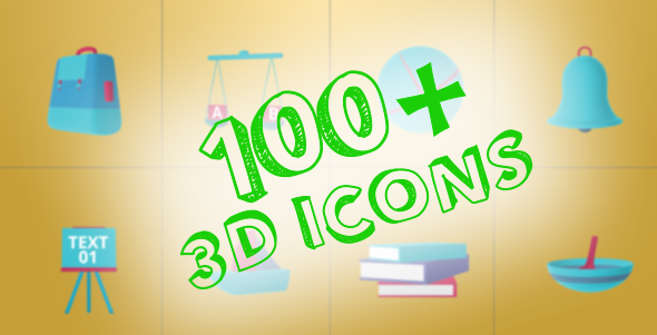 VideoHive 100 Animated 3D Icons for Explainer Video 19299084