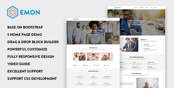 01 preview.  large preview - Emon - Responsive Business Drupal 8 Theme