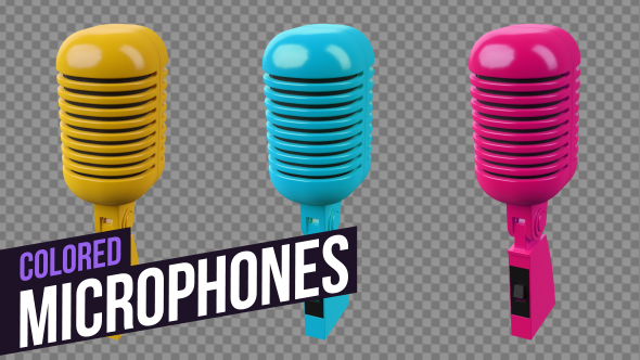 VideoHive Colored Microphones 19299591