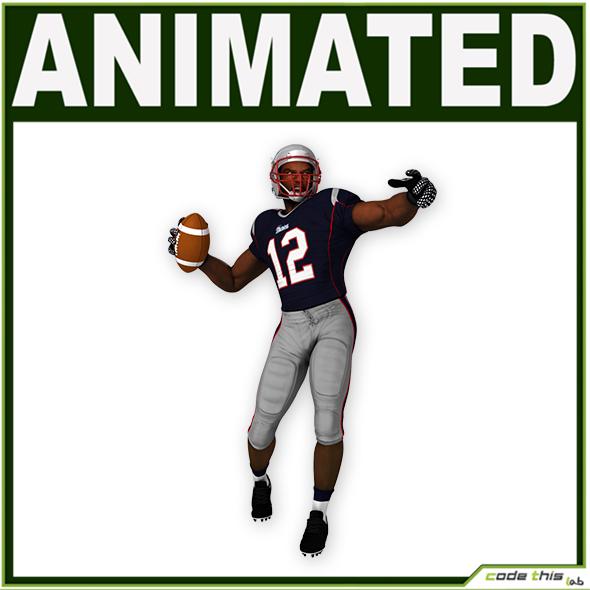 Black American Football Player Patriots CG - 3DOcean Item for Sale