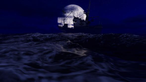 VideoHive Fishing Boat in Ocean at Night 19292021