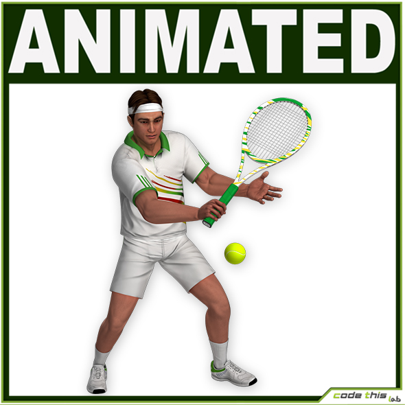 White Tennis Player CG - 3DOcean Item for Sale