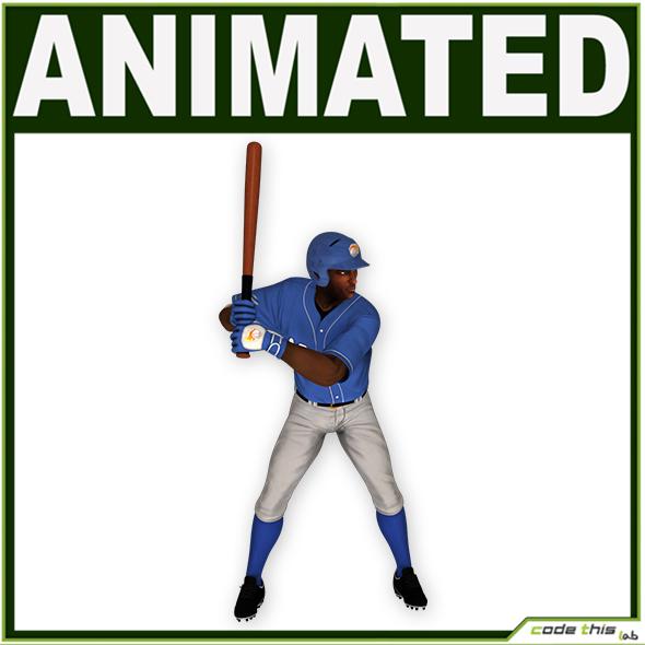 Black Baseball Player Batter CG - 3DOcean Item for Sale