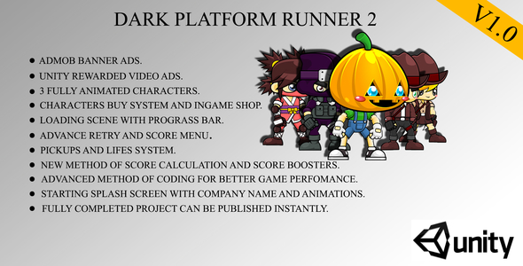 Download Dark Platform Runner 2 Game Template For Android With Admob,Leaderboards And Unity Ads nulled download