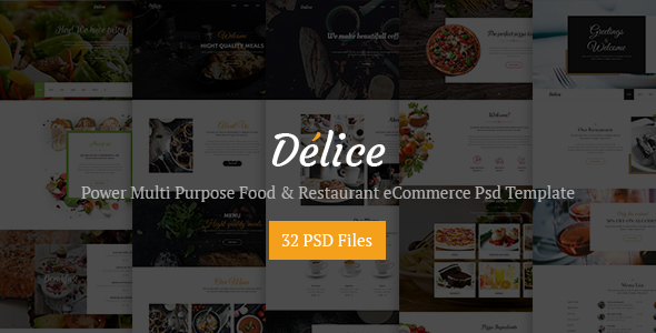 Delice - Power Multi Purpose Food & Restaurant Psd eCommerce Template