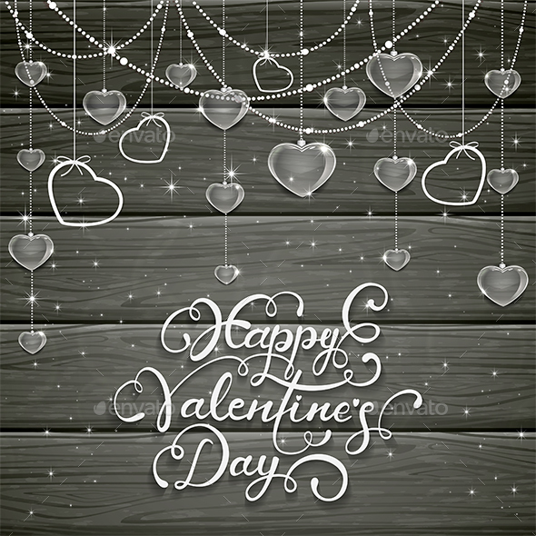 Black Wooden Background with Valentines Hearts and Beads