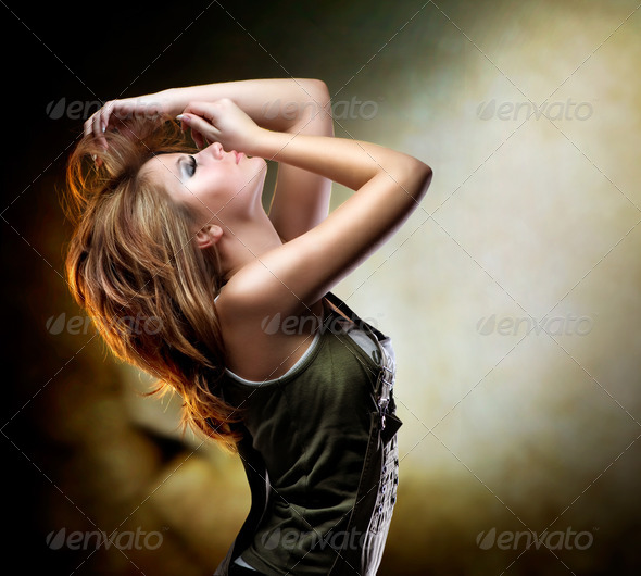 Fashion Dancing Girl. Disco - Stock Photo - Images