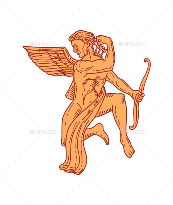 Graphicriver Cupid Bow Drawing Arrow Mono Line 19303327