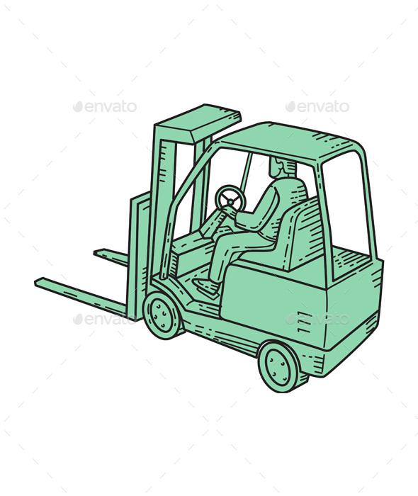 Graphicriver Forklift Truck Operator Mono Line 19303351