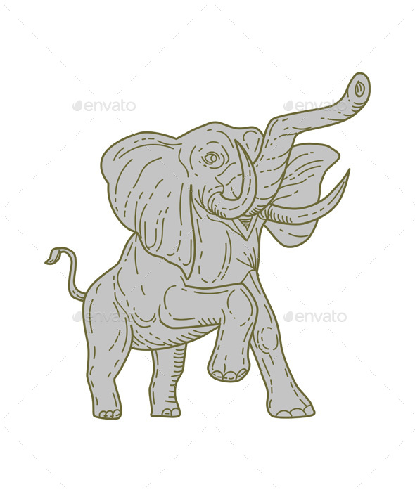 Graphicriver African Elephant Prancing Mono Line 19303384