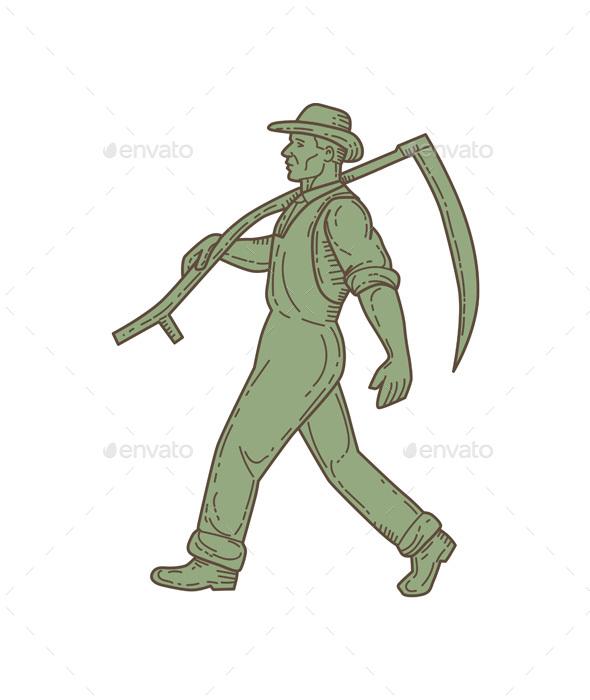 Graphicriver Organic Farmer Scythe Walking Mono Line 19303426