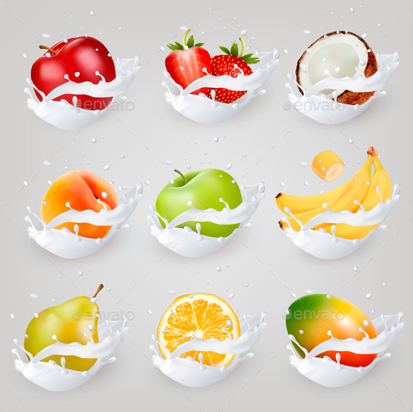 Big Сollection Of Fruit And Berries In Milk Splash.